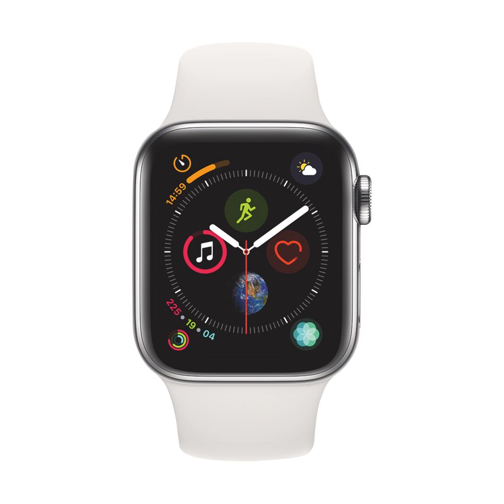 AppleWatch Series4 GPS+Cellular Stainless Steel Case with White Sport Band