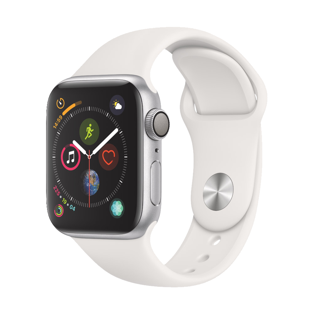 AppleWatch Series4 GPS+Cellular Silver Aluminium Case with White Sport Band