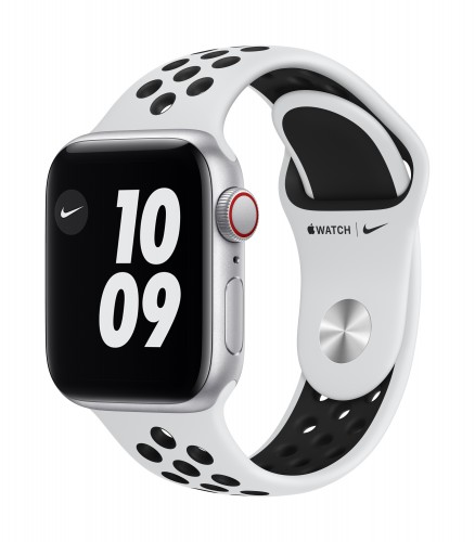 Apple Watch Nike SE GPS + Cellular, 40mm Silver Aluminium Case with Pure Platinum/Black Nike Sport Band - Regular