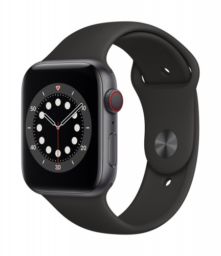 Apple Watch Series 6 GPS + Cellular, 40mm Space Gray Aluminium Case with Black Sport Band - Regular | Unicorn Store