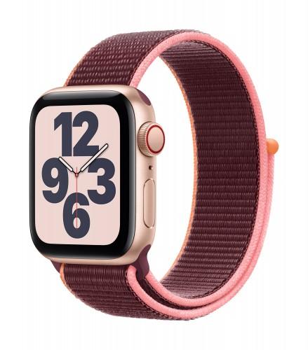 Apple Watch SE GPS + Cellular, 40mm Gold Aluminium Case with Plum Sport Loop | Unicorn Store