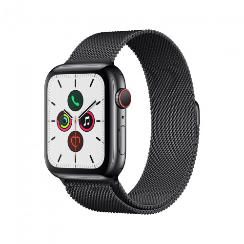 Apple Watch Series 5 GPS + Cellular 40mm Space Black Stainless Steel Case with Black Milanese Loop