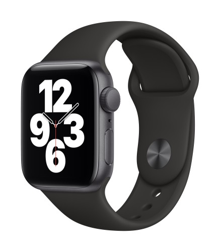 Apple Watch SE GPS, 40mm Space Gray Aluminium Case with Black Sport Band - Regular | Unicorn Store