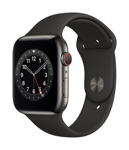 Apple Watch Series 6 GPS + Cellular, 44mm Graphite Stainless Steel Case with Black Sport Band - Regular | Unicorn Store
