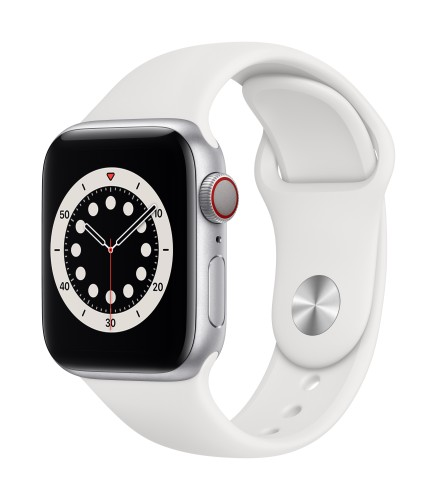 Apple Watch Series 6 GPS + Cellular, 40mm Silver Aluminium Case with White Sport Band - Regular | Unicorn Store