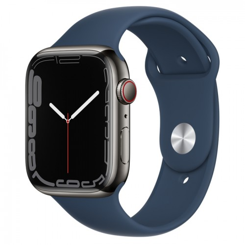 Apple Watch Series 7 GPS + Cellular 45mm Graphite Stainless Steel Case with Abyss Blue Sport Band - Regular