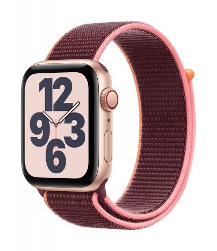 Apple Watch SE GPS + Cellular, 44mm Gold Aluminium Case with Plum Sport Loop | Unicorn Store