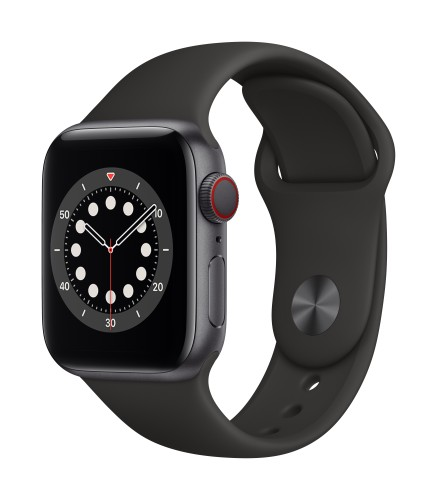 Apple Watch Series 6 GPS + Cellular, 40mm Space Gray Aluminium Case with Black Sport Band - Regular | Unicorn Store