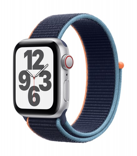 Apple Watch SE GPS + Cellular, 40mm Silver Aluminium Case with Deep Navy Sport Loop | Unicorn Store