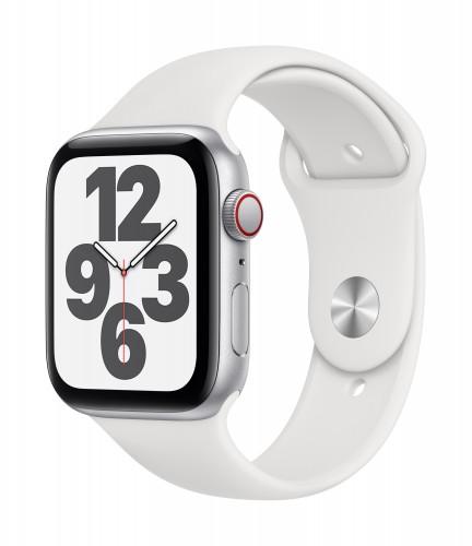 Apple Watch SE GPS + Cellular, 44mm Silver Aluminium Case with White Sport Band - Regular | Unicorn Store