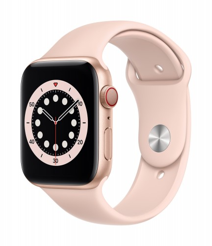 Apple Watch Series 6 GPS + Cellular, 40mm Gold Aluminium Case with Pink Sand Sport Band - Regular | Unicorn Store