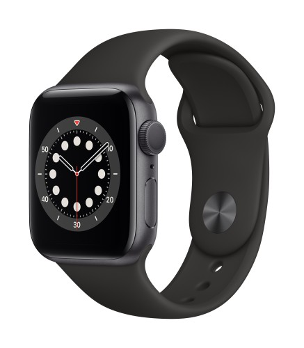 Apple Watch Series 6 GPS, 40mm Space Gray Aluminium Case with Black Sport Band - Regular