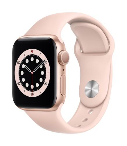 Apple Watch Series 6 GPS, 44mm Gold Aluminium Case with Pink Sand Sport Band - Regular | Unicorn Store