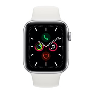 Apple Watch Series 5 GPS + Cellular 44mm Silver Aluminium Case with White Sport Band - S/M & M/L