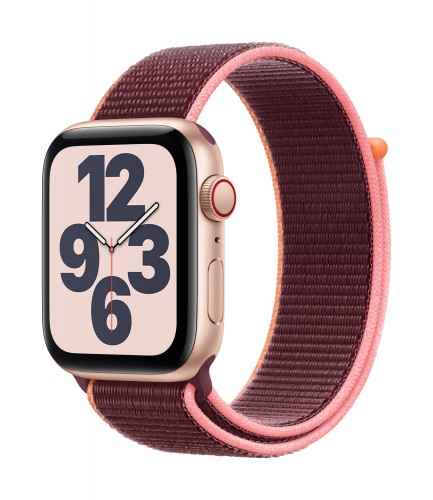 Apple Watch SE GPS + Cellular, 40mm Gold Aluminium Case with Plum Sport Loop | Unicorn Store
