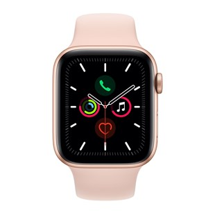Apple Watch Series 5 GPS 44mm Gold Aluminium Case with Pink Sand Sport Band - S/M & M/L