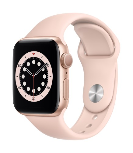Apple Watch Series 6 GPS, 40mm Gold Aluminium Case with Pink Sand Sport Band - Regular | Unicorn Store