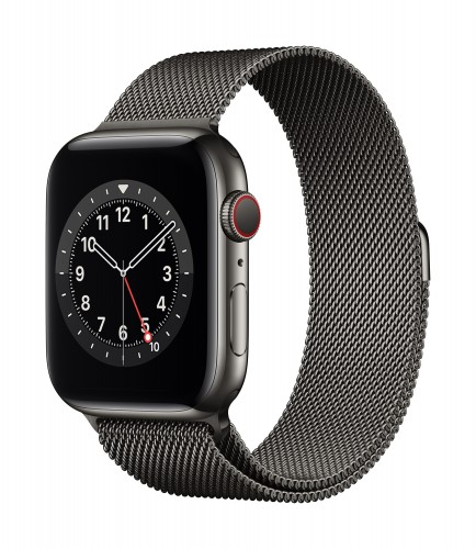 Apple Watch Series 6 GPS + Cellular, 40mm Graphite Stainless Steel Case with Graphite Milanese Loop | Unicorn Store