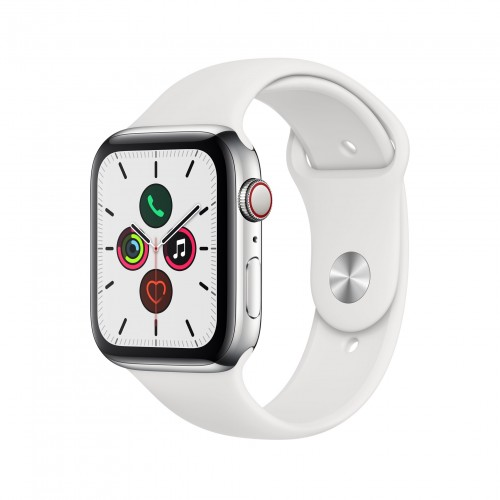 Apple Watch Series 5 GPS + Cellular 40mm Stainless Steel Case with White Sport Band - S/M & M/L