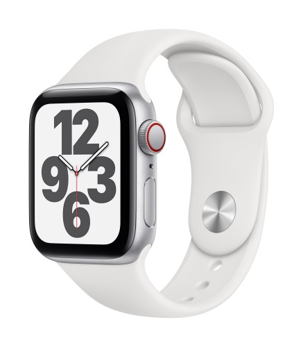 Apple Watch SE GPS + Cellular, 40mm Silver Aluminium Case with White Sport Band - Regular | Unicorn Store