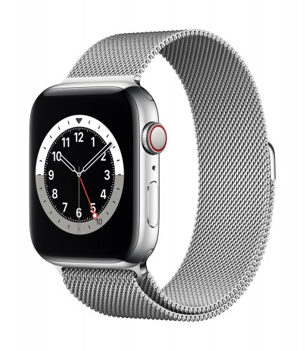 Apple Watch Series 6 GPS + Cellular, 44mm Silver Stainless Steel Case with Silver Milanese Loop | Unicorn Store