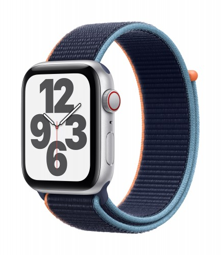 Apple Watch SE GPS + Cellular, 44mm Silver Aluminium Case with Deep Navy Sport Loop | Unicorn Store