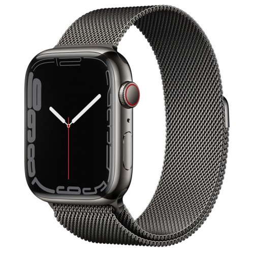 Apple Watch Series 7 GPS + Cellular 45mm Graphite Stainless Steel Case with Graphite Milanese Loop
