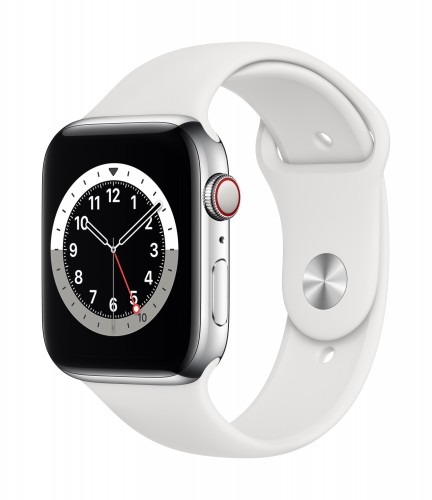 Apple Watch Series 6 GPS + Cellular, 40mm Silver Stainless Steel Case with White Sport Band - Regular   Unicorn Store