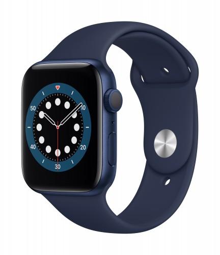 Apple Watch Series 6 GPS, 44mm Blue Aluminium Case with Deep Navy Sport Band - Regular | Unicorn Store