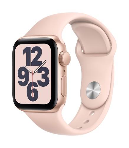 Apple Watch SE GPS, 40mm Gold Aluminium Case with Pink Sand Sport Band - Regular | Unicorn Store
