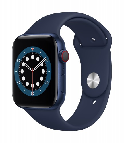 Apple Watch Series 6 GPS + Cellular, 40mm Blue Aluminium Case with Deep Navy Sport Band - Regular   Unicorn Store
