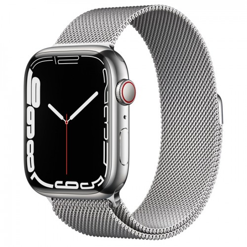 Apple Watch Series 7 GPS + Cellular 45mm Silver Stainless Steel Case with Silver Milanese Loop