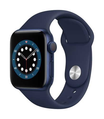 Apple Watch Series 6 GPS, 40mm Blue Aluminium Case with Deep Navy Sport Band - Regular | Unicorn Store