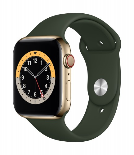 Apple Watch Series 6 GPS + Cellular, 44mm Gold Stainless Steel Case with Cyprus Green Sport Band - Regular