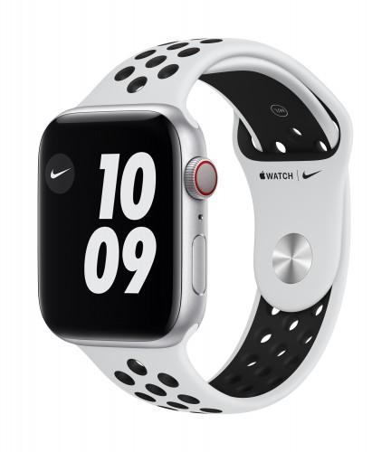 Apple Watch Nike Series 6 GPS + Cellular, 44mm Silver Aluminium Case with Pure Platinum/Black Nike Sport Band - Regular | Unicorn Store