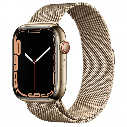 Apple Watch Series 7 GPS + Cellular 45mm Gold Stainless Steel Case with Gold Milanese Loop