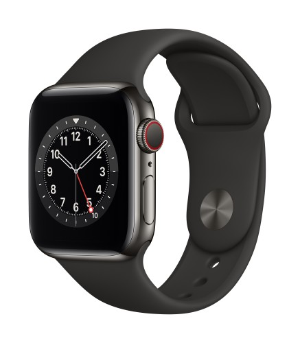 Apple Watch Series 6 GPS + Cellular, 40mm Graphite Stainless Steel Case with Black Sport Band - Regular | Unicorn Store
